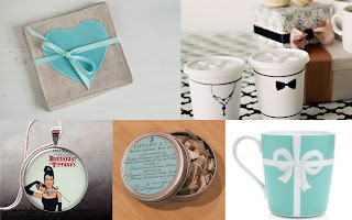 Breakfastat Tiffany party favors, candles, coasters, mugs, tea lights