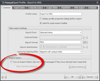 Export history helps prevent duplicate emails saved as .msg format.