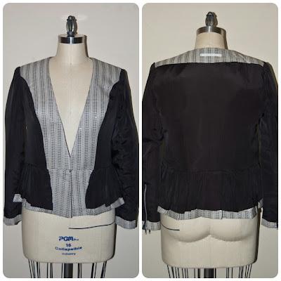 New Look 6231 - Collarless Peplum Blazer made in Carolina Herrera Stone Lurex Woven from Mood Fabrics