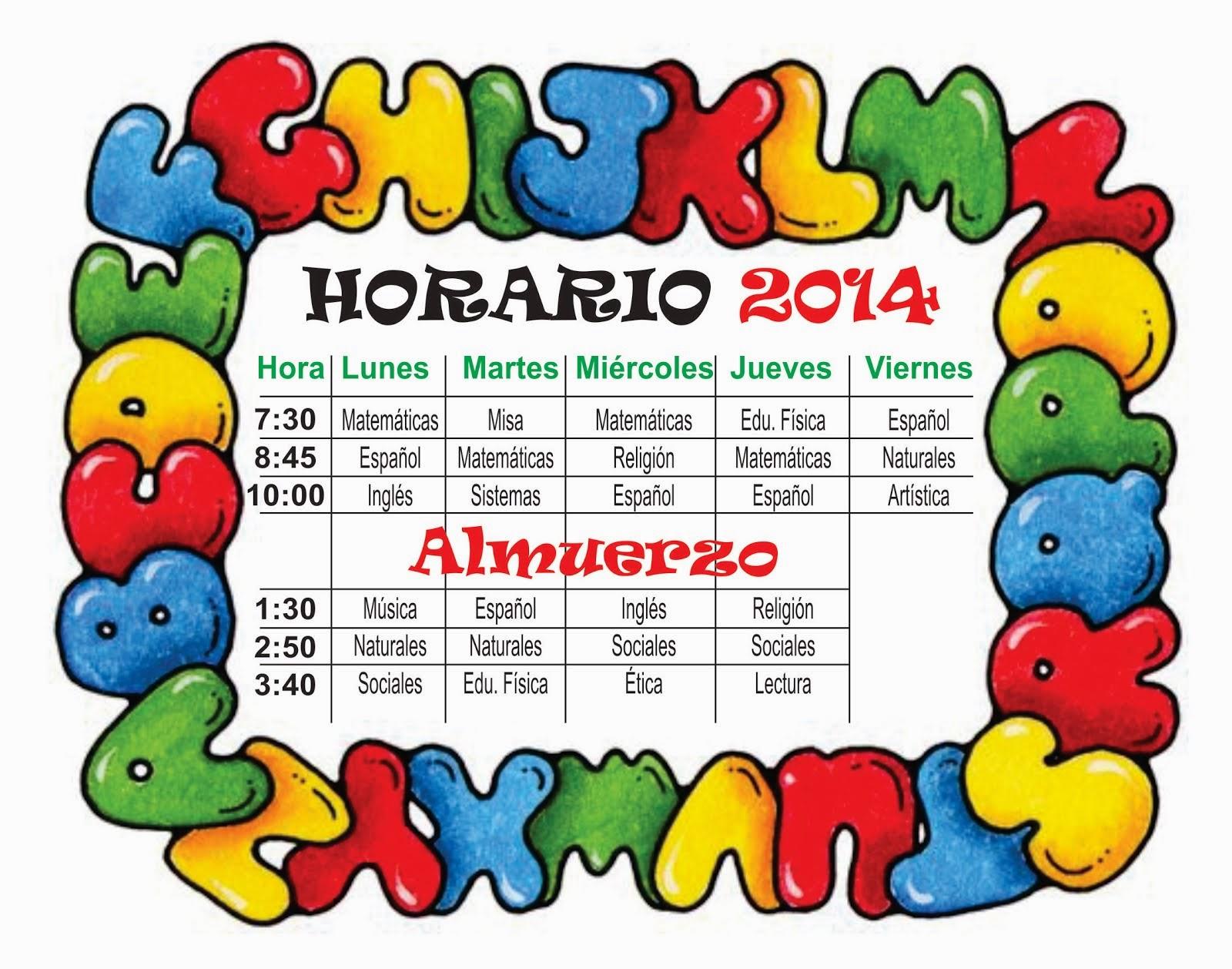 HORARIO DE CLASES  GRADO  1°A   LANS  AÑO  2014