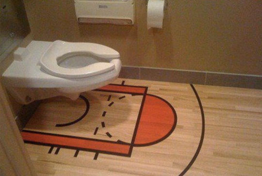 Awesome Basketball Court Toilet - 3 Points Challenge Accepted!