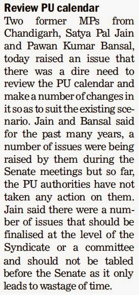 Review PU calendar - Satya Pal Jain, Ex-MP