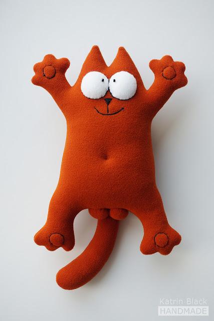 Кот Саймона тёмно-рыжий - мягкая игрушка ручной работы.