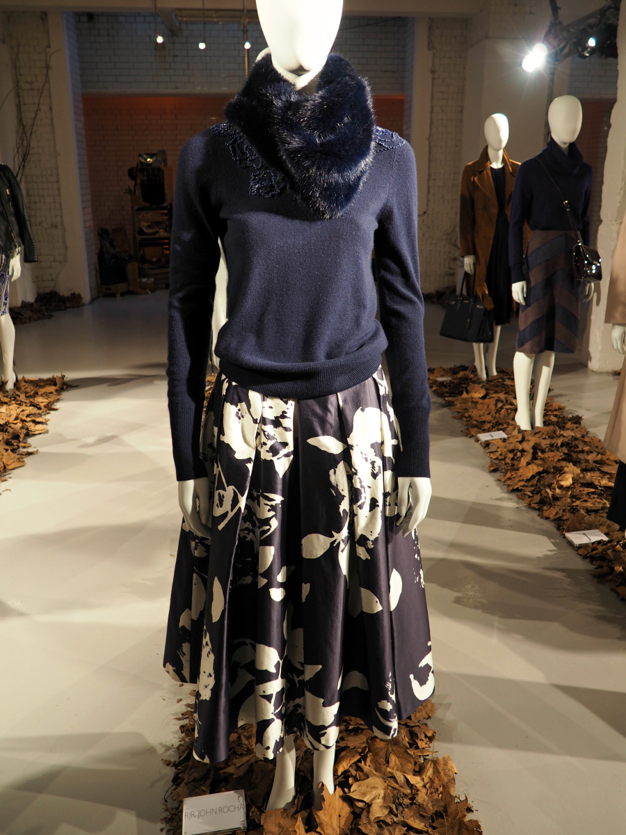 Navy floral midi skirt and embellished jumper with fut scarf by RJR. John Rocha for Debenhams