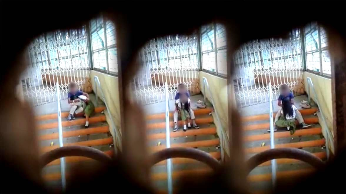 Two Youngsters Students Scandal Video Inside the School Goes Viral