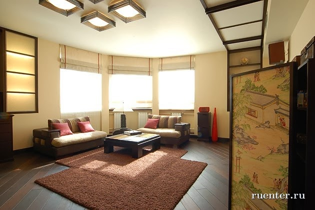 Ceiling design ideas in japanese style for Living room design japanese style