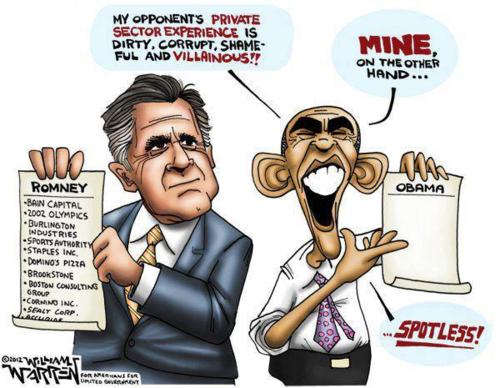 Mitt Romney, Barack Obama, Political Cartoon 2012