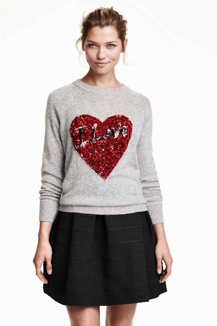 red sequin heart jumper, grey red heart jumper,