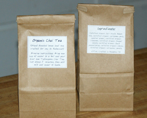 Hand Crafted Organic Fair Trade Loose Leaf Chai Tea - Handmade Gift Idea
