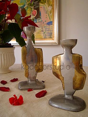 Venta de candelabros de estilo moderno. Candelero de cobre dorado y plateado.