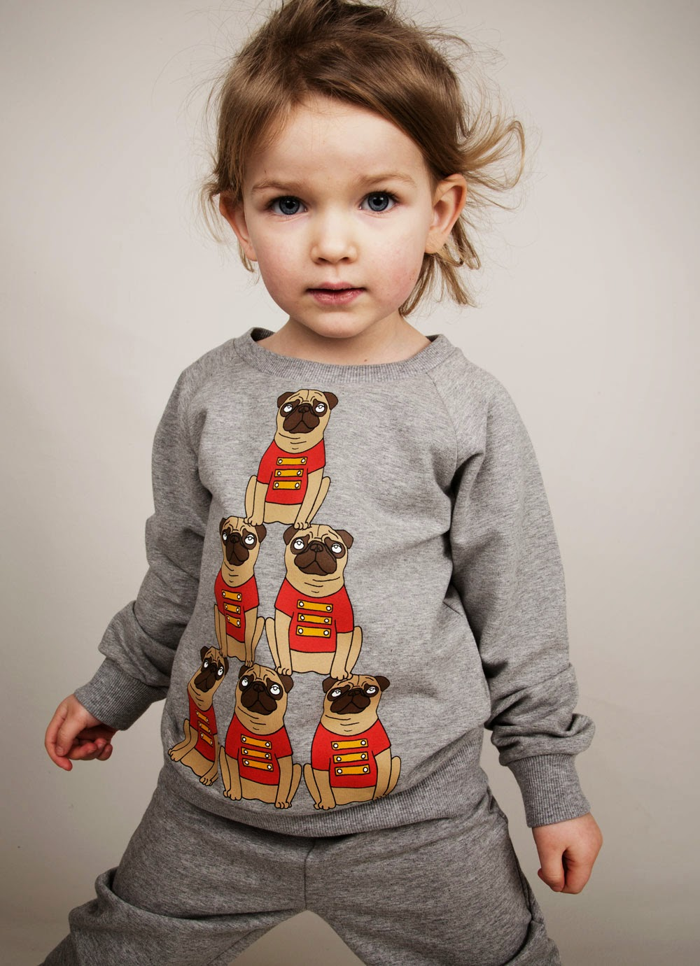 Fun acrobatic bulldogs for Mini Rodini AW14 kids fashion collection