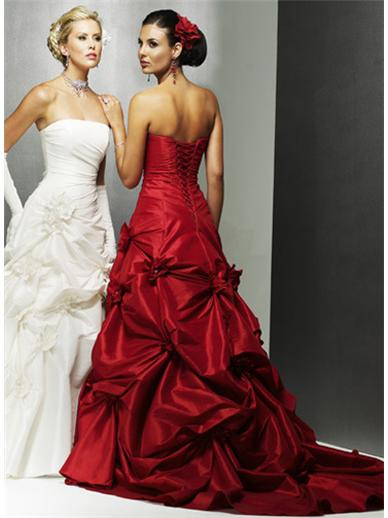 Red and White Wedding dresses design