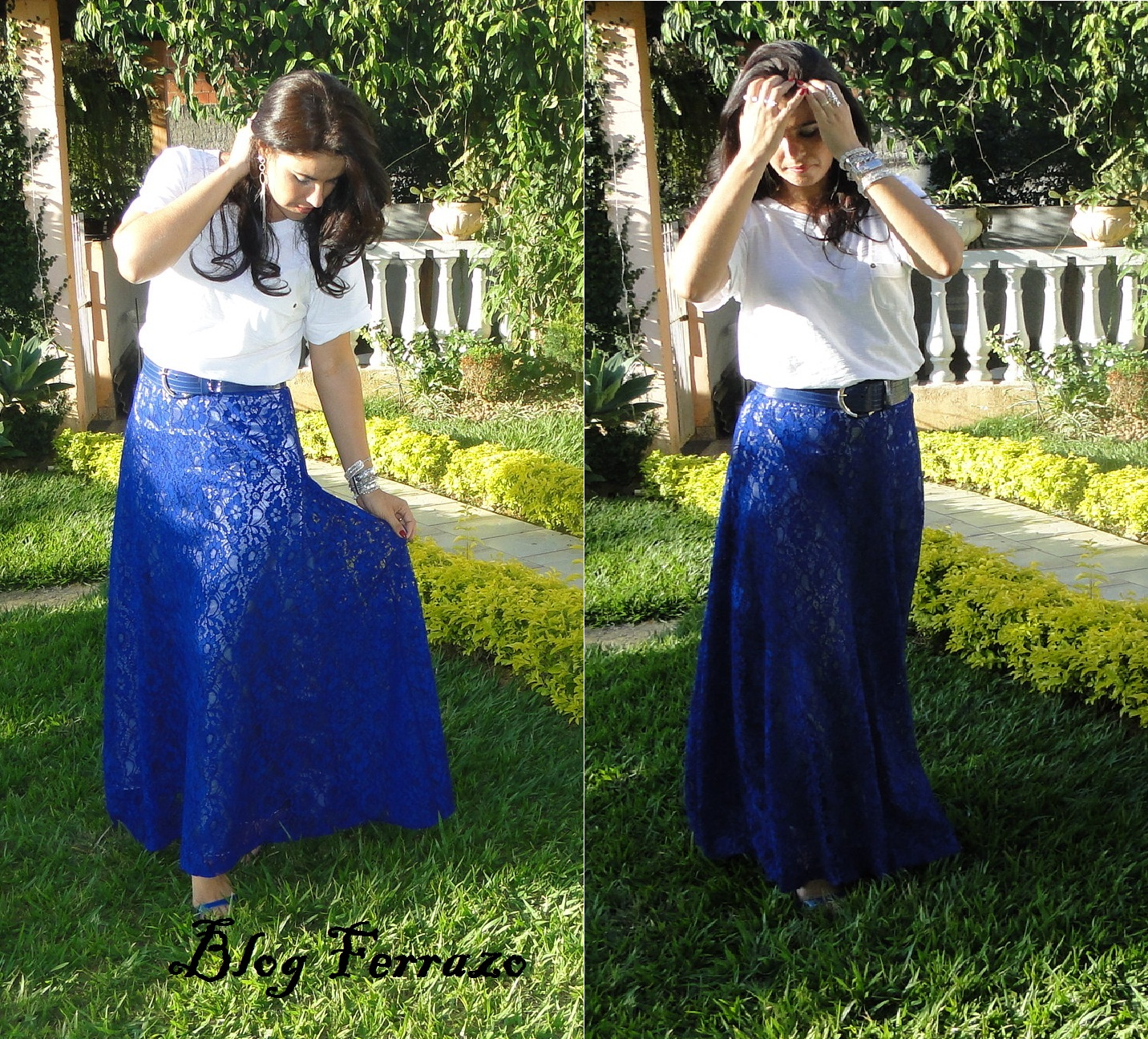 Blog Ferrazo: Look Do Dia - Saia De Renda Azul