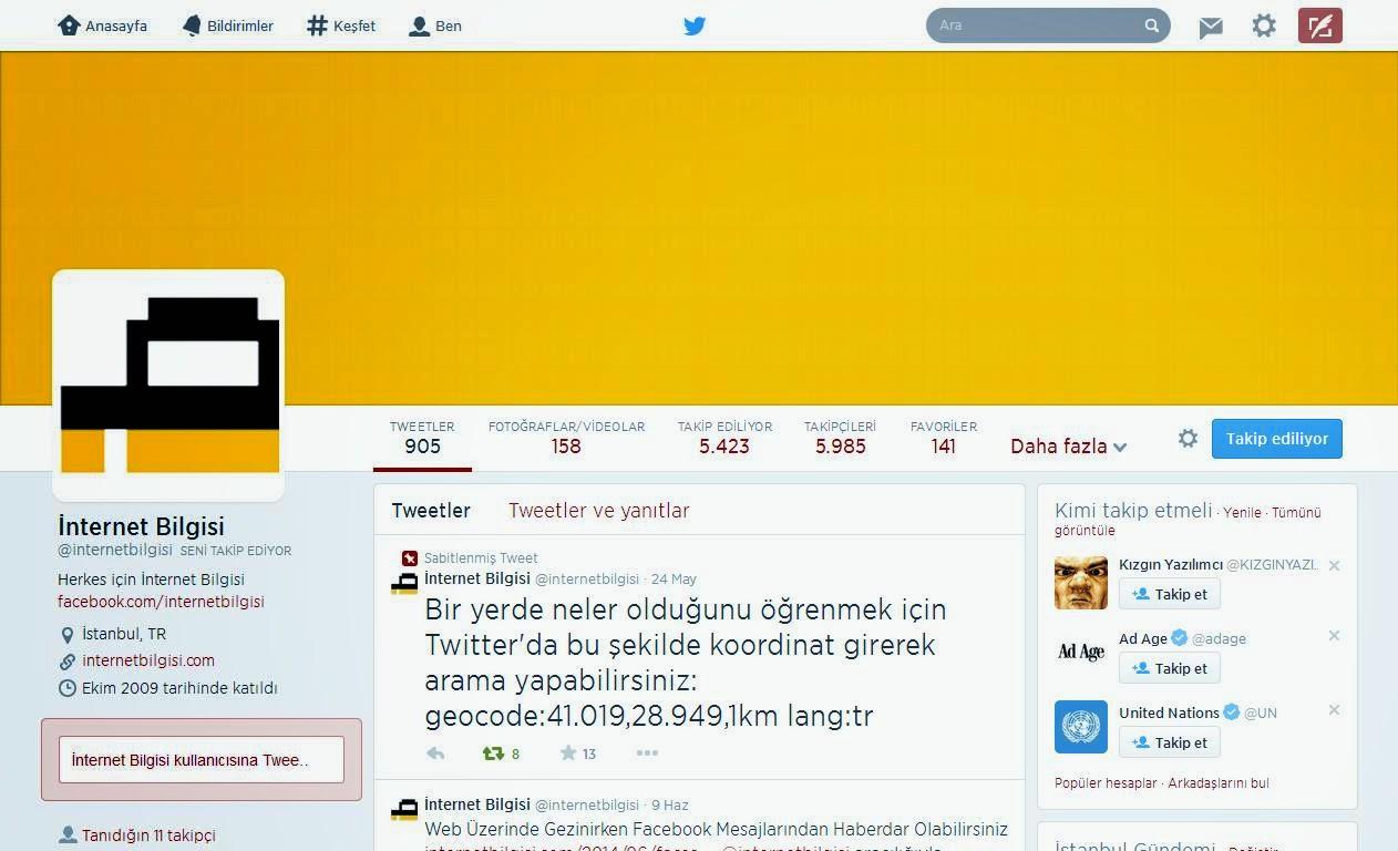 twitter profil sayfası