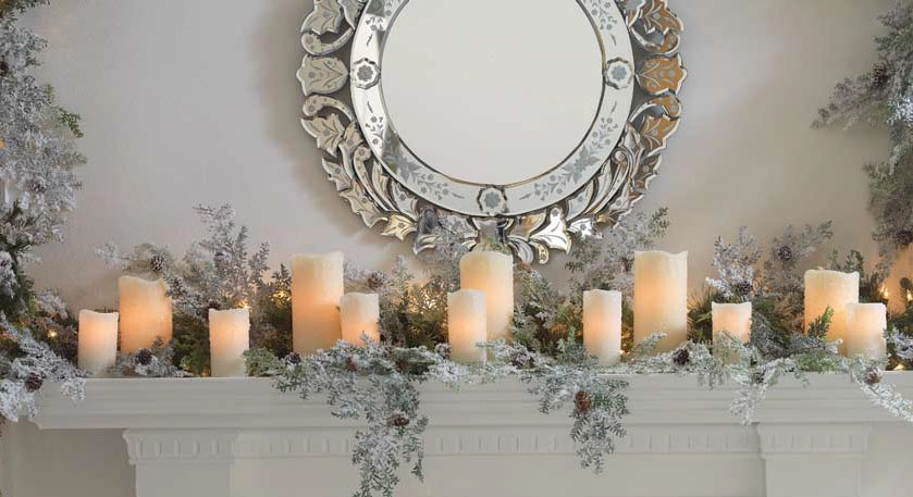 Winter Candles On A Christmas Mantel