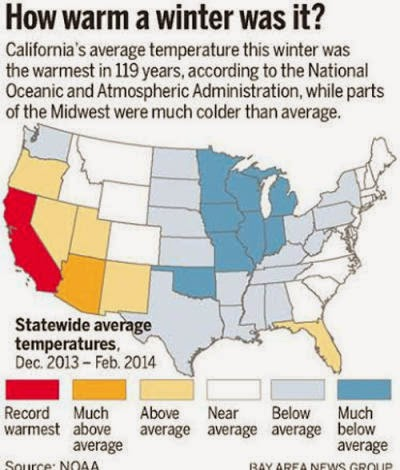 Statewide average temperatures (Credit: www.mercurynews.com) Click to enlarge.