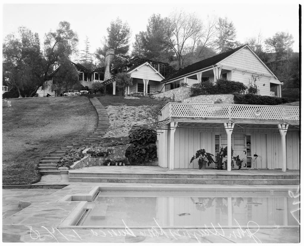 Fire at John Wayne's home, 17218 Rancho St., Encino, California.