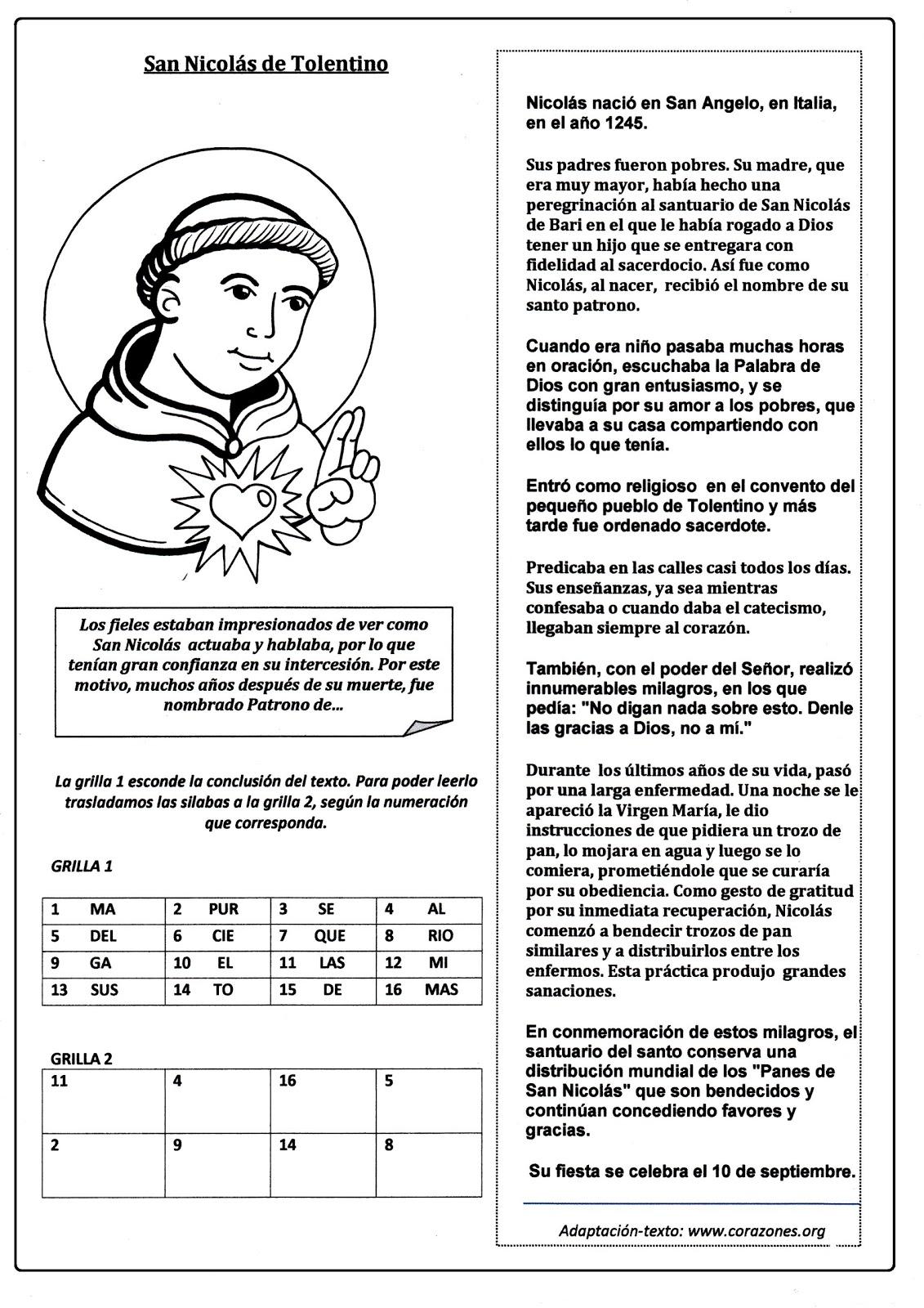 El Rincón de las Melli: San Nicolás de Tolentino (historia con juego)