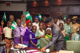 Children's day celebration: Yemi Osinbajo receives pupils from Abuja public schools