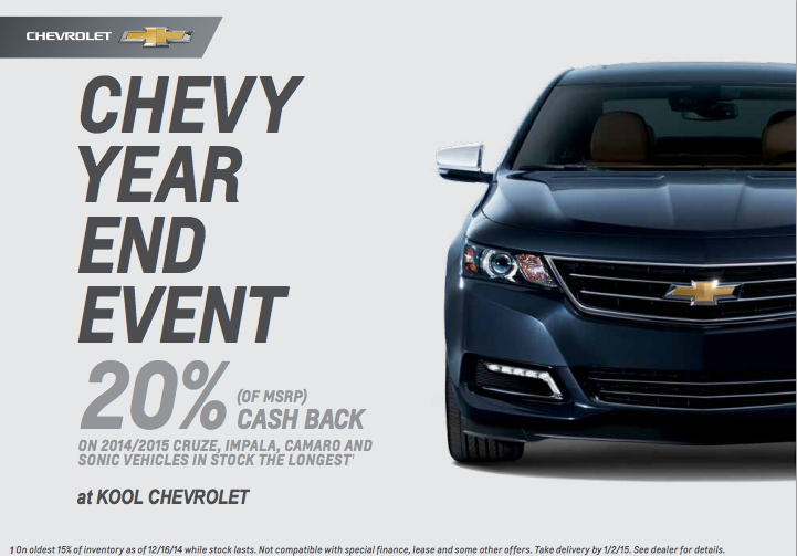 20% Off Chevy MSRP Pricing at Kool Chevrolet