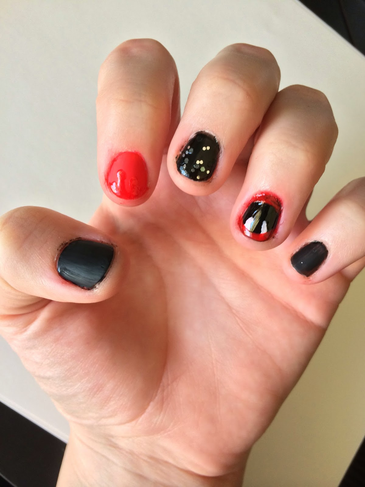 What you'll need: red polish, black polish, white polish, glitter top coat,  clear top coat, matte top coat, two bobby pins, q-tips, nail polish remover  and ... - Hannah Explains It All: Halloween Vampire Nail Art