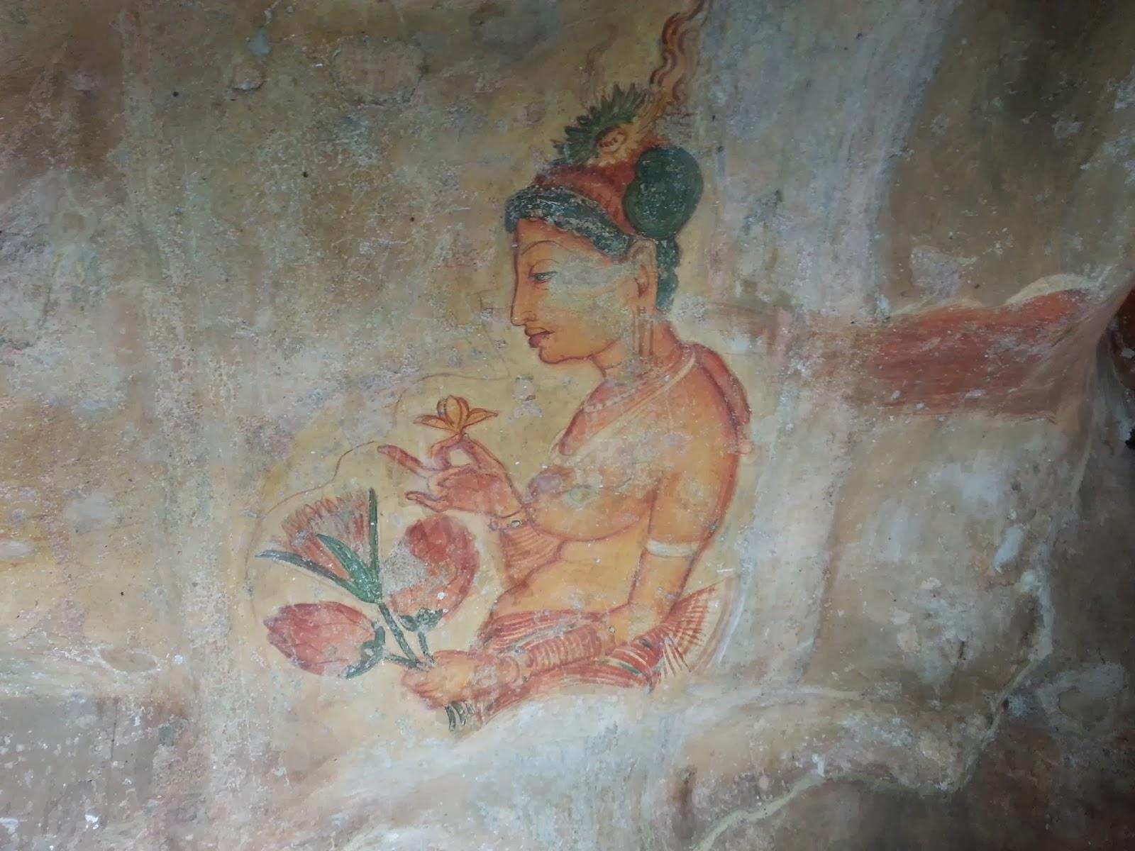 Принцесса древней Ланки держит цветы, обнаженная грудь, фреска, граффити, Сигирия, юная красавица