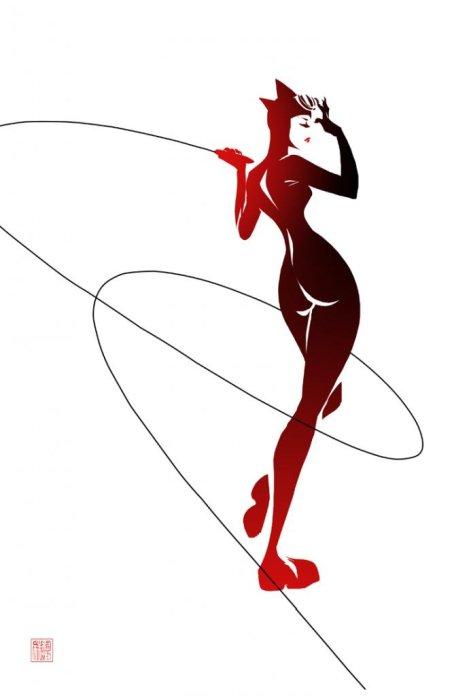 sho murase ilustrações singelas minimalistas espaço negativo mulheres super heroínas Mulher-gato