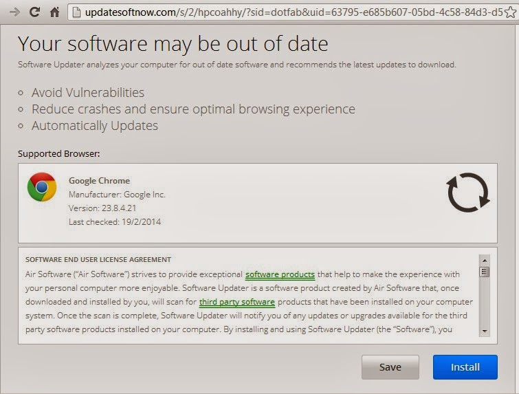 Your software may be out of date pop-up