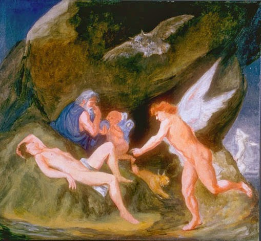 "The Realm of Hypnos  ""Morpheus alights to waken the dreamer as Hypnos  orchestrates the dream in the crystal ball he holds."" Elsie Russell, 1995 Image from The Works of Elsie Russell"
