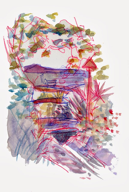 "shiho nakaza getty watercolor sketch autumn ""Los Angeles"" garden water museum"