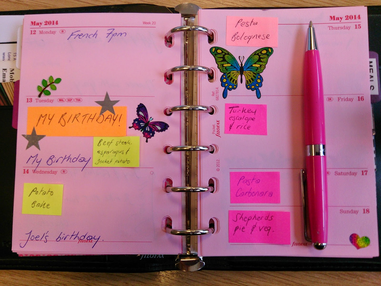 filofax planner organised organisation diary week 20 butterflies decoration