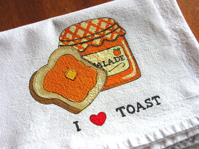 Orange Marmalade and Toast Painted Tea Towel