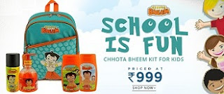 Chhota Bheem Kit for Kids ( School bag, Deo, Handwash, Shampoo, Bath & Shower Gel) for Rs.999 Only @ HomeShop18 + Free Rs.100 GIft Voucher