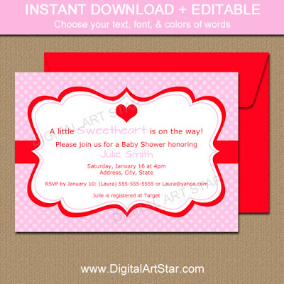 Digital Art Star Printable Party Decor January 2016 – Valentine Party Invitation Template