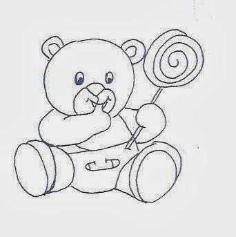 desenho de um ursinho com fralda e pirulito para pintar