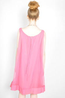 Vintage 1960's bubble gum pink sheer trapeze sleeveless dress.