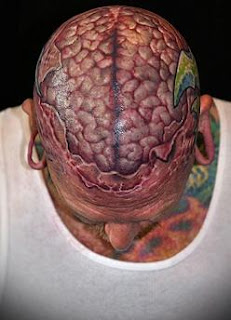 3d brain tattoo covering the head