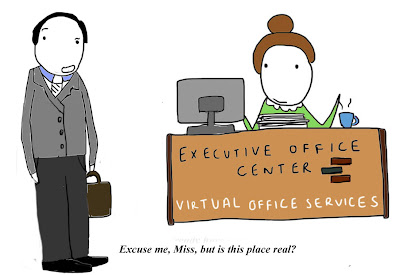 A virtual office is something close to be being a real office.  It allows for the temporary use of office space on an as need basis.