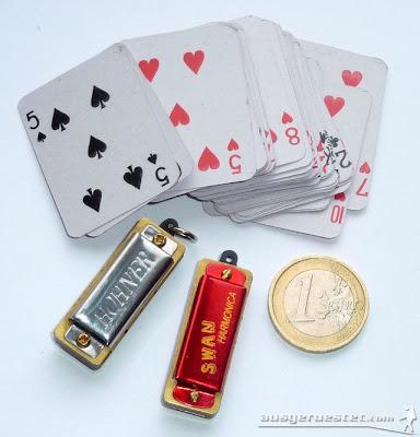 mini Mundharmonika und Kartenspiel - ultraleicht