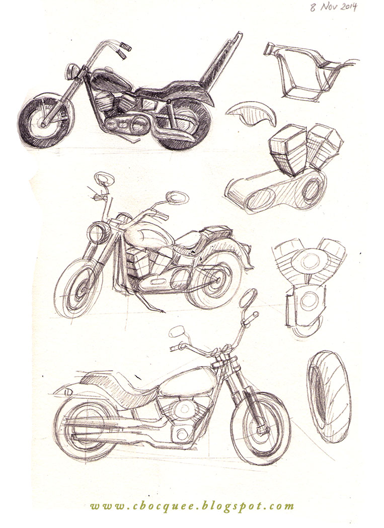 Sketchbook drawings of Harley Davidson motorbikes