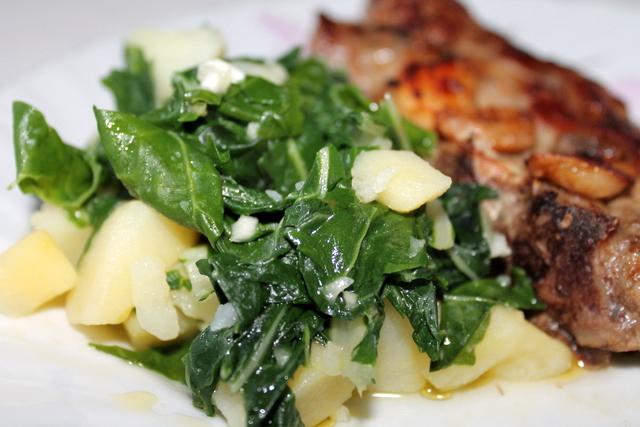 Гарнир с блитвой и картофелем