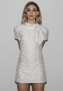 Vintage 1960's silver brocade a-line mini shift dress with high neckline.