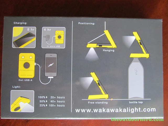 Waka Waka Power: Solar Lantern And Mobile Charger, Back Of Box