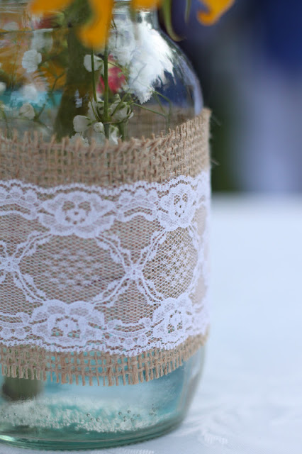 Costco flowers mason jars acrylic paint burlap and lace for Do it yourself flower arrangements