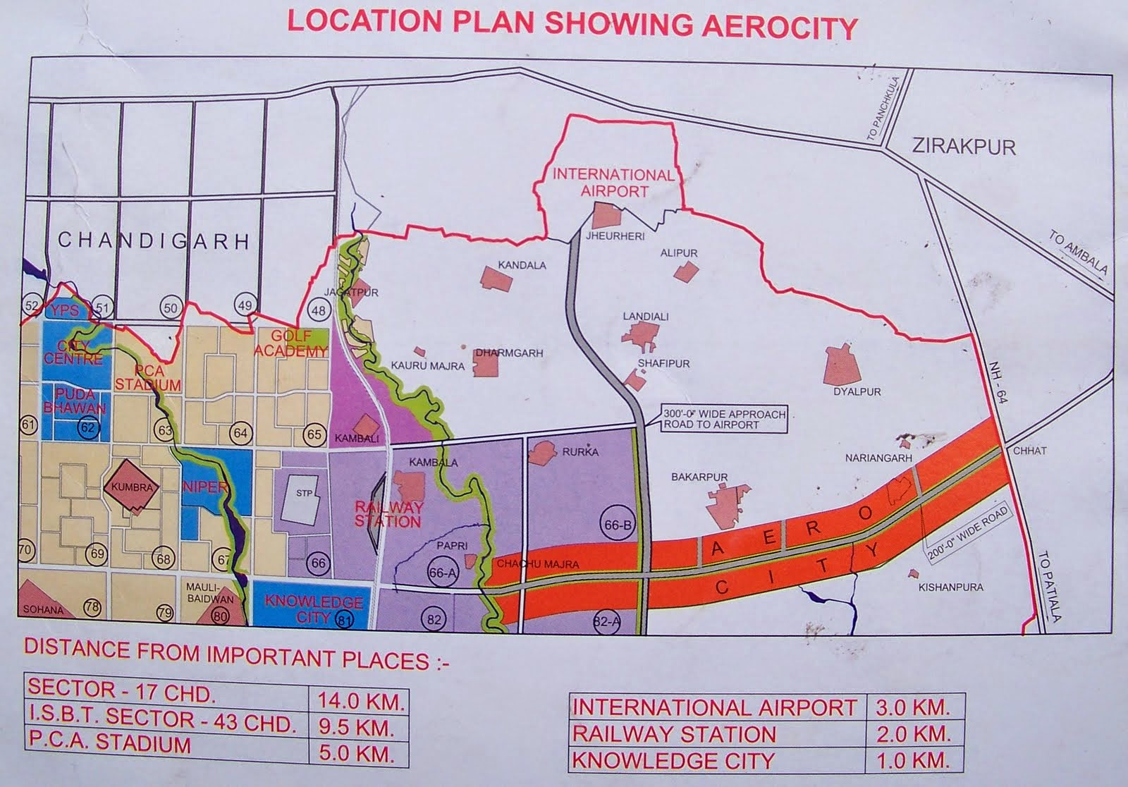 gmada aerocity mohali location map