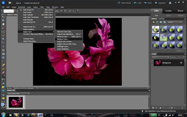 Color Replacement in Adobe Photoshop Elements is very simple and one of the popular functionality in this wonderful software for Digital Image Processing. Let's have a quick round of steps to better understand Color Replacement workflow. This effectively helps in changing a particular range of color shades to other shades.1. As a starting point, just open the photograph which needs Color Replacement or Changes and go to Enhance Menu.2. Under Enhance Menu, go to 'Adjust Color' and select 'Replace Color...3. Just have a look at image below, which shows 'Replace Color' dialog with different options. For now, just have a look at all the options and try to make out the usage4. Now click on Color Picker tool, which is first pen in the dialog and click on the color which you want to change in your Photograph. Highlighted area in the image below shows Pen on right and selected color on left. After this selection, you will notice two changes in this dialog - One is change in color on right side. Color of two squares will change to the one you have selected. Second will be change is black & white rectangle. If you don't see this black & white rectangle, then ensure that 'Selection' is checked.5. Now you have to fine tune the selection. Fuzziness slider helps in increasing the color range we want to change/replace. If we move fuzziness slider towards right, it increases range of color tone. Just note the black & white rectangle in image below & above. Now whole flower looks white here, which indicates that this whole region will be impacted by color replacement.6. Now go to the bottom section and click on Result Color square. It will open up 'Select Target Color' dialog, where you have a to select the color you want to apply in selected region of your photograph. Although below selected color doesn't look good but I selected it for showing the effect clearly. When done, Click OK in 'Select Target Color' dialog.7. Note that HUE, SATURATION and LIGHTNESS values have changed in this dialog. This also indicates that shades can directly be handled through these three sliders instead of Color Selection dialog.Please do some experiments with Color Replacement in Adobe Photoshop Elements and feel free to ask specific queries through comments here.