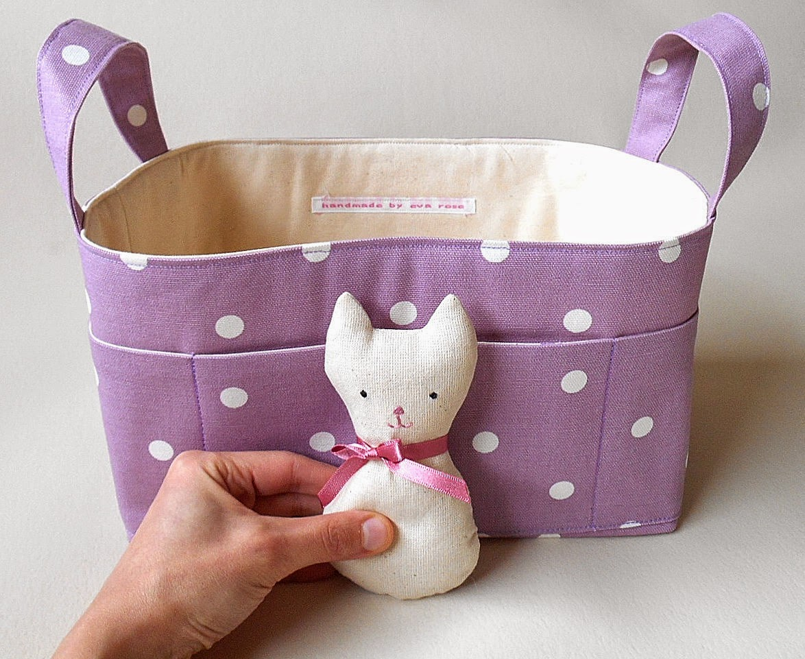 Lavender Fabric basket with Pocket Cat Softie Pink Bow