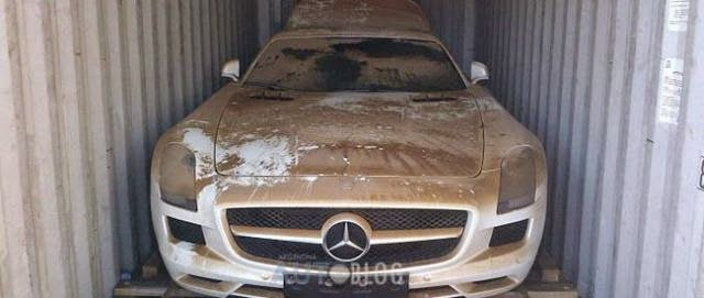 Supercar Mercedes SLS AMG, Fell in the ocean