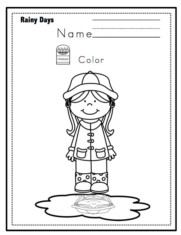 Printable Worksheets rainy day worksheets : Rainy Day Printable No Prep ~ Preschool Printables