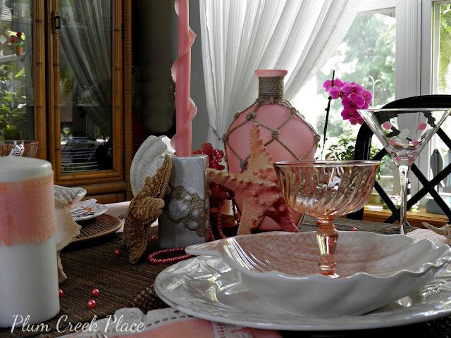 Plum Creek Place = Coral and pink Mermaid tablescape